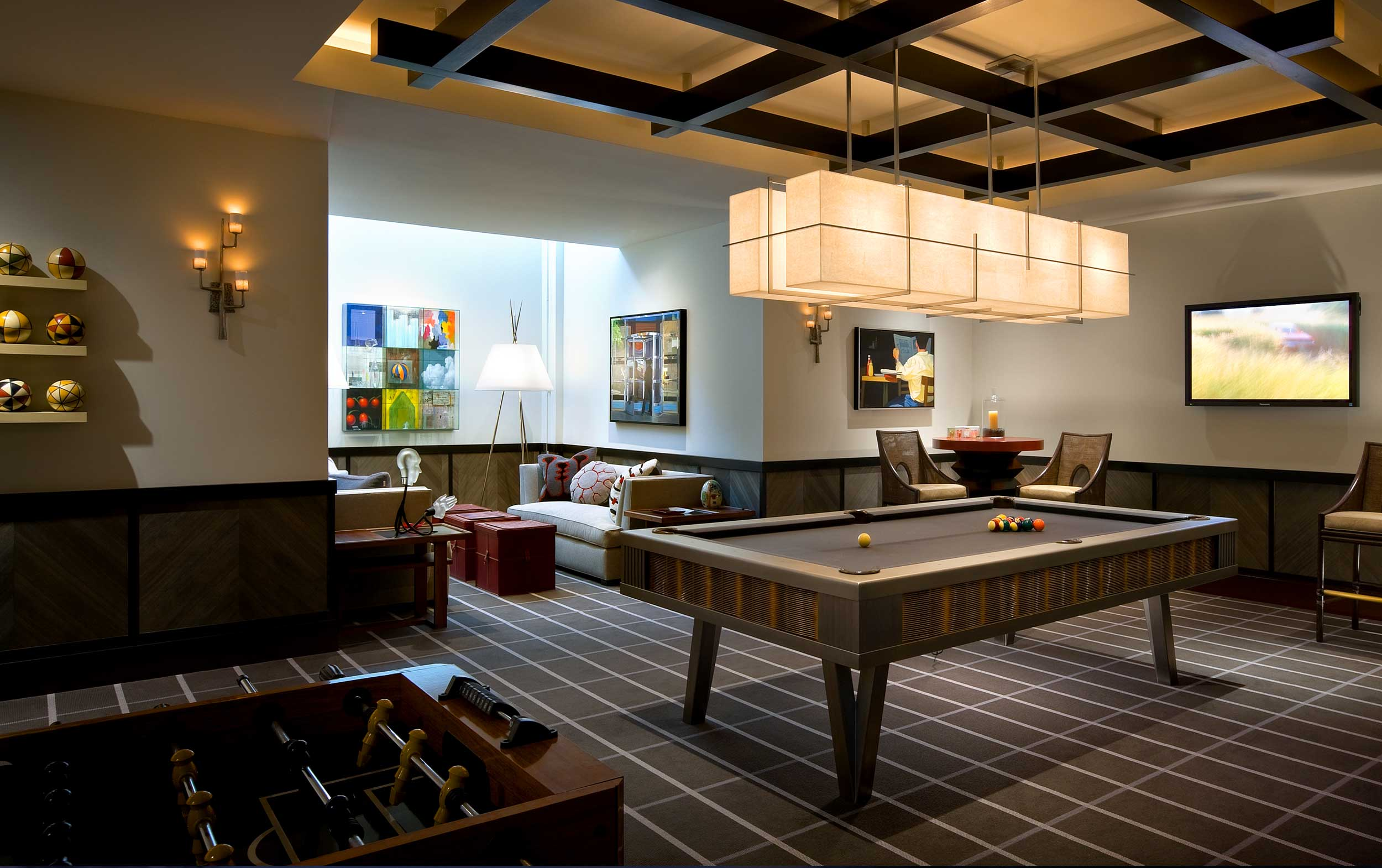 Games room with billards table