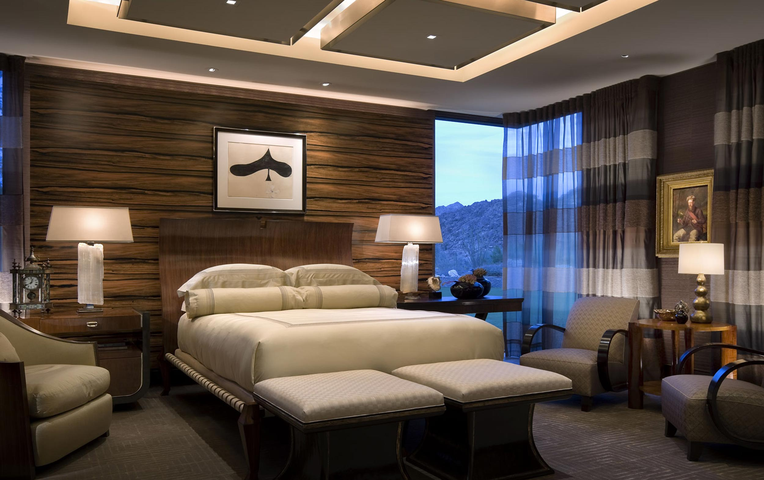 master bedroom with rich wood panels